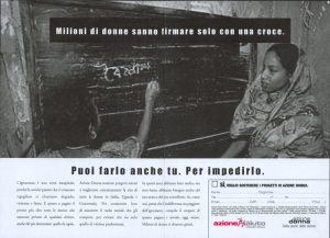 Azione Aiuto - Campagna contro l'analfabetismo 2002 - annuncio stampa - proposal